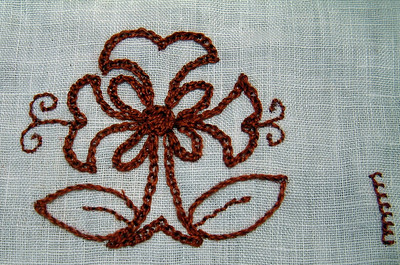 Mockup for the embroidery to be done on a 16th Century English coif.