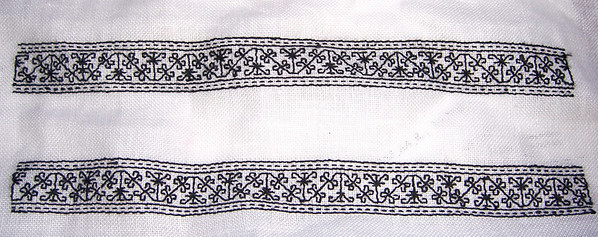 Blackwork cuffs for a 16th Century men's shirt