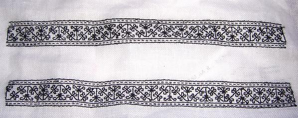 Blackwork cuffs for a 16th Century men's shirt