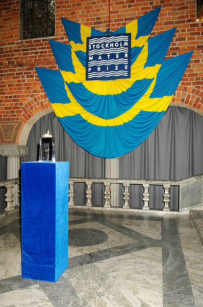 The the Water Prize crystal sculpture with the event banner. Photo by the Stockholm International Water Institute under the Creative Commons license.