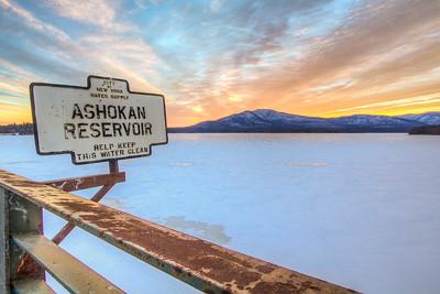 Ashokan Reservoir Sign Winter