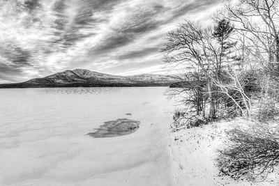 Ashokan Reservoir Winter Black and White