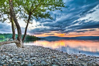 Sunset at Ashokan Reservoir, Ulster County, New York, USA