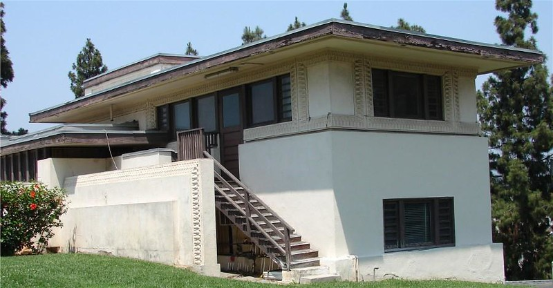 This is the Frank Lloyd Wright designed Residence A.  It was built in 1921  and was altered in those early years to function as classroom space for art programs.  Other than this, there were no known restoration or renovation projects in the subsequent years.  <br /> <br /> The building has been vacant since 2000, and through the efforts of Councilmember Mitch O'Farrell, over $1.8 million dollars was allocated to kick-start this project.  While the search for additional funding continues, we will address any structural and water leak issues.<br /> <br /> The team for this project is composed of:<br /> Project Restore - Administrator and Restoration Manager<br /> Bureau of Engineering - Project Manager and Architect<br /> Department of Cultural Affairs - Curator and Operator<br /> Department of General Services - General Contractor<br /> Department of Recreation and Parks - Owner and Landscape Maintenance<br /> <br /> If you know someone who may have attended classes here, and or may have early interior photos, please have them call our office at 213.978.0283.