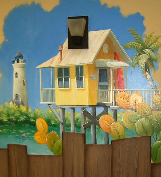 detail from 'Sunny Florida' mural in children's dental office