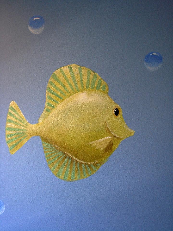 detail of 'aquarium mural' for children's room