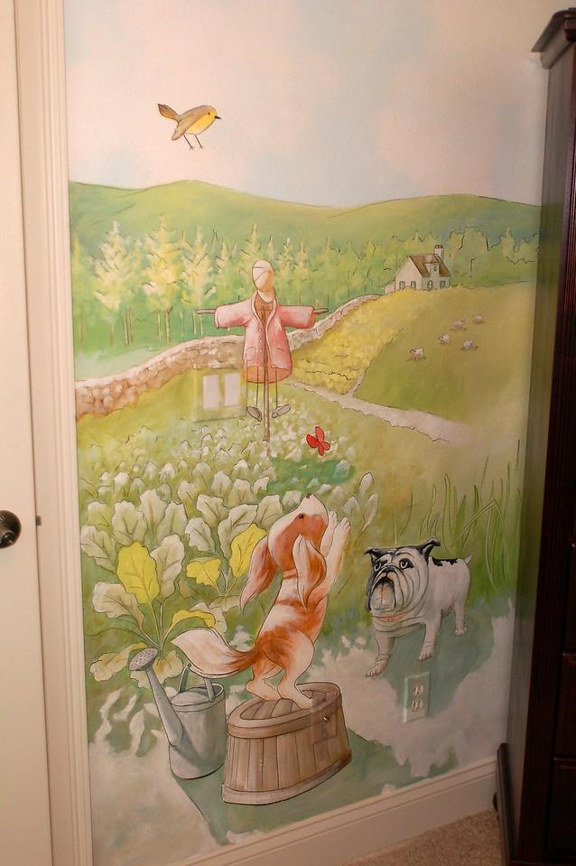 detail from 'Peter Rabbit' nursery mural