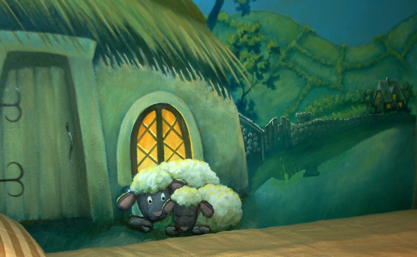 detail from 'lamb's big day' nursery mural