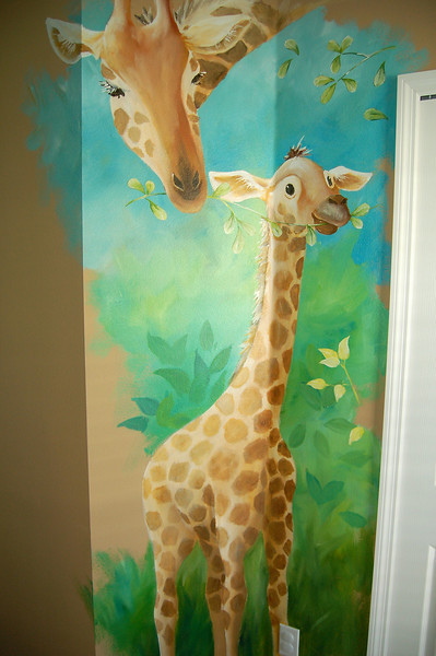 details from 'african animals' nursery mural