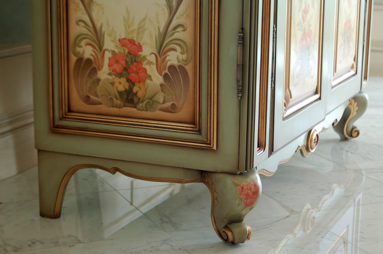 Hand Painted U0027french Armoireu0027 With Goldleaf Gilding, Panels Featuring  Bathing Figures Produced