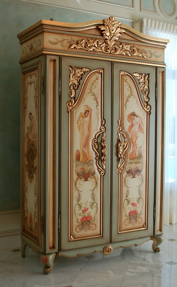 Charmant Hand Painted U0027french Armoireu0027 With Goldleaf Gilding, Panels Featuring  Bathing Figures Produced