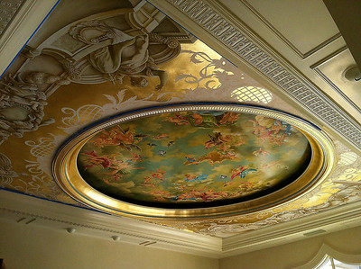 17th century style ceiling mural, french grisaille' characters