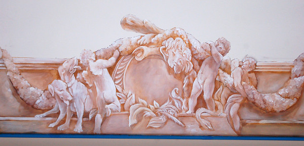 initial 'blocking' detail for 16th century french ceiling mural