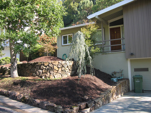 Rich, new soil is blended and bermed up to improve the look of the yard and to provide a great root zone for the new trees and plants.