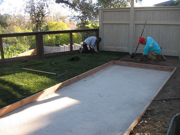 The bocce court 'mix' is in, now the sod is installed.