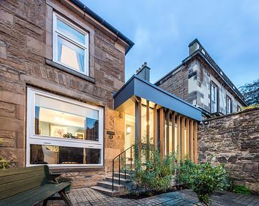 dusk photograph of house extension in Edinburgh