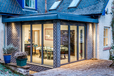 Dusk photography, private house extension Cardrona