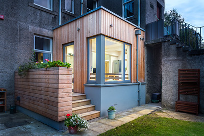 Private house extension, dusk shot