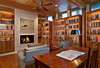 study looking toward fireplace