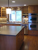 Kitchen island and sink wall