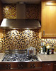Cooktop with hood and glass tiles