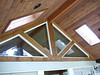 Exterior wall and ceiling of porch with skylights to let in more natural light