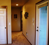 view from master bedroom to bath and living areas