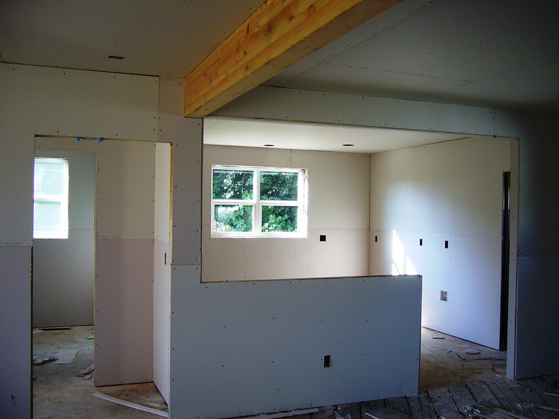 sheetrock moving forward in living areas