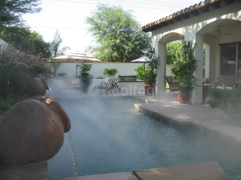 Fog Integrated to Poolside Urns