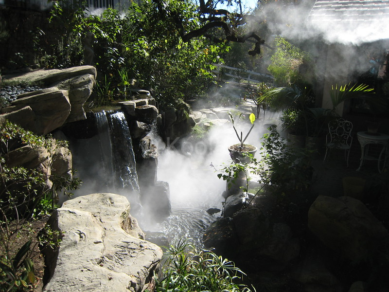 Waterfall and Stream with Fog