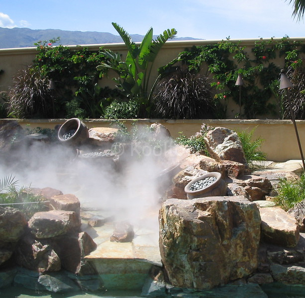 Fog and Urns in Water Feature