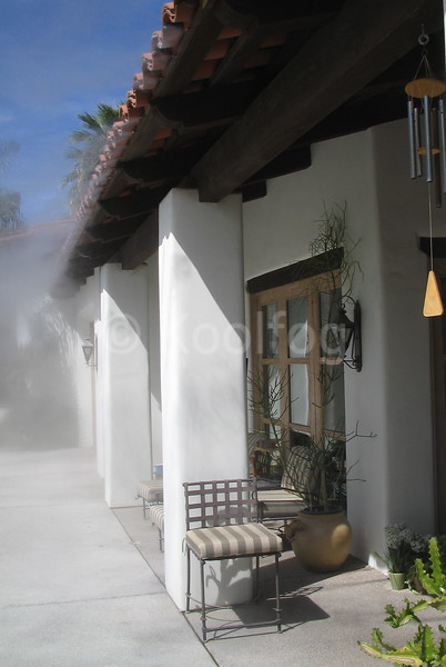 Small Patio Seating Area Misted