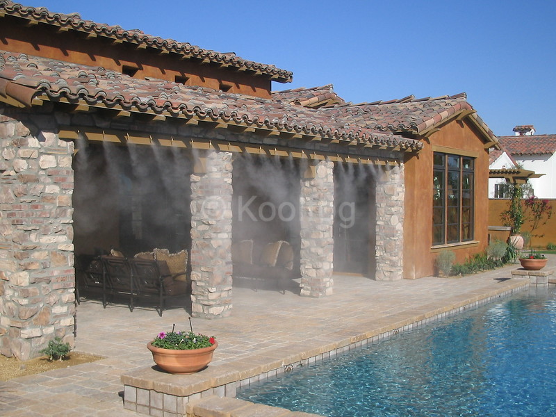 Model Home with Misting at Poolside