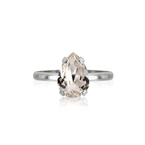 Petite Drop Ring / Crystal Rhodium