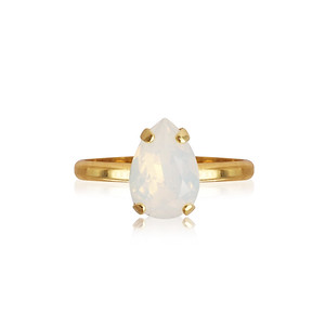 Petite Drop Ring / White Opal Gold