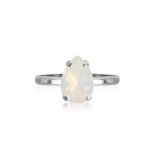 Petite Drop Ring / White Opal Rhodium