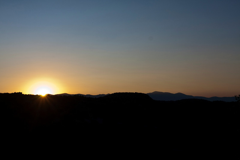 sunset over the Sangre de Cristo mountains, view from ridge room, Bishop's Lodge Ranch Resort & Spa, Santa Fe, New Mexico, USA