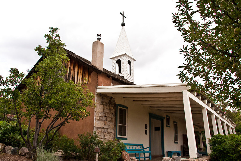 historic bishop's chapel, circa 1851, Bishop's Lodge Ranch Resort & Spa, Santa Fe, New Mexico, USA