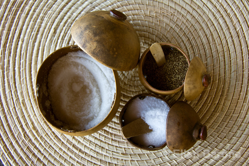 Handmade sugar, salt and pepper containers, Jicaro Island Ecolodge, Lake Nicaragua.