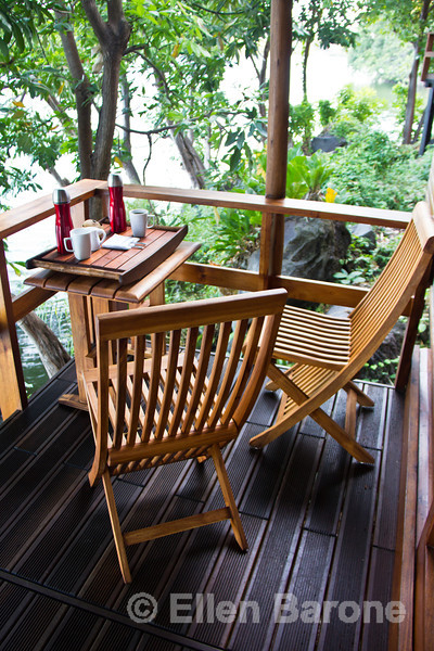 Morning coffee, lakeside deck, private guest casita, Jicaro Island Ecolodge, Lake Nicaragua.