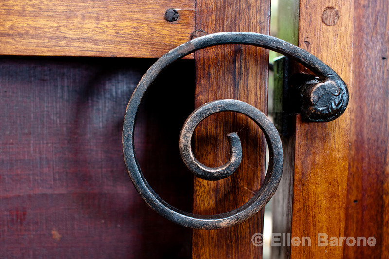 Door handle, architectural detail, private casita, Jicaro Island Ecolodge, Lake Nicaragua.