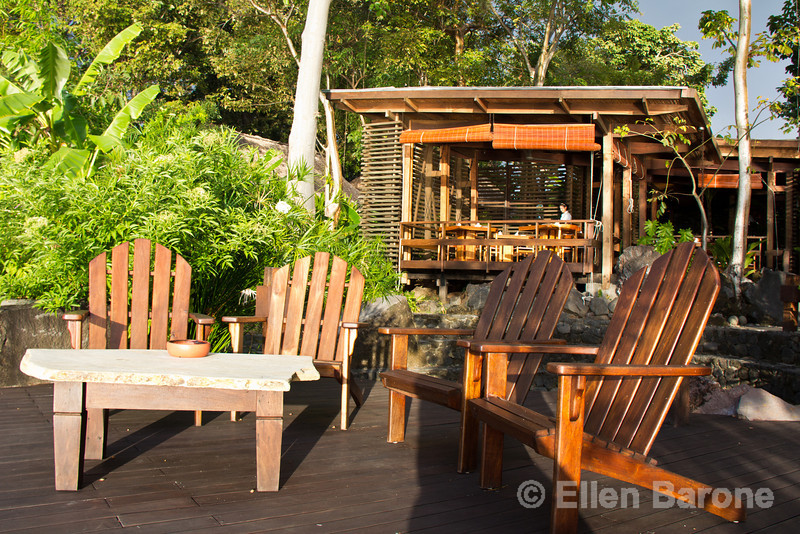 Deck chairs and resort restaurant, Jicaro Island Ecolodge, Lake Nicaragua.