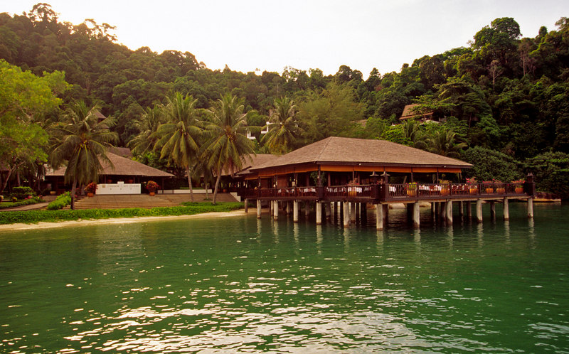 Uncle Lim's restaurant, perched on stilts over the sea, Pangkor Laut Resort, Pangkor Laut, Selat Malaka (Straits of Malacca), Malaysia, Asia.