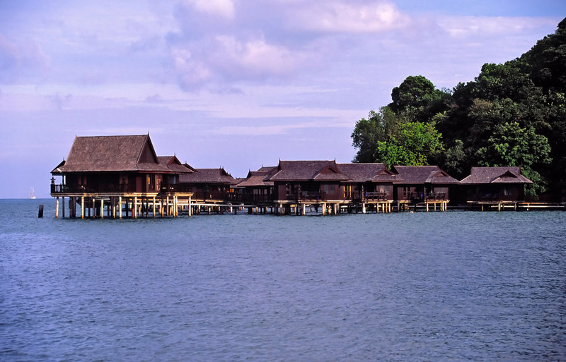 The Sea Villas at Pangkor Laut combine traditional Malay architecture of building on stilts with modern-day luxury, Pangkor Laut island, Selat Malaka (Straits of Malacca), Malaysia, Asia.