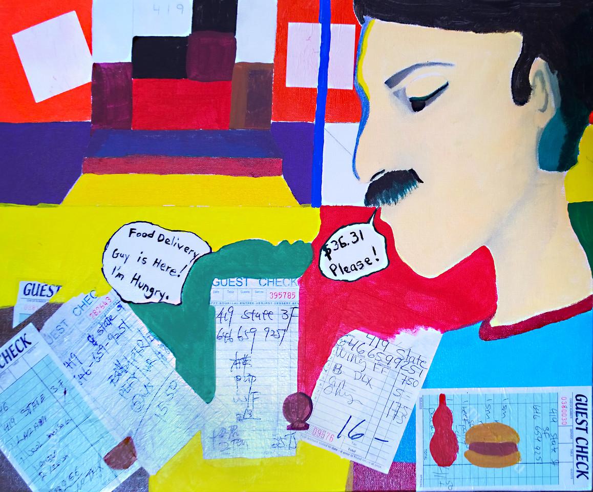 """Aracelis Rivera. Guest Check, mixed media on canvas, 18"""" x 24,"""" 2016."""