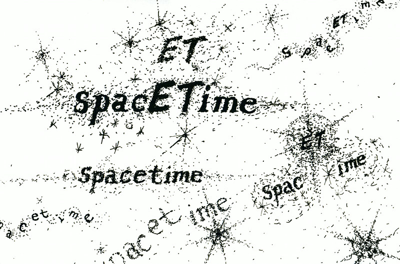 "spacETime 1. Ink on paper, 5"" x 7"", 2005."