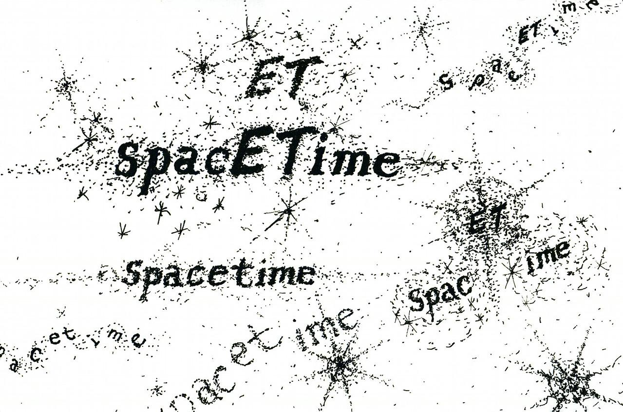 "spacETime 1. Ink on paper, 5"" x 7"", 2005."