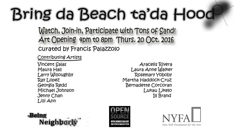 Bring da Beach ta'da Hood: Video Documentation of Art Opening. Color video, 2 min. 59 sec. 2016.