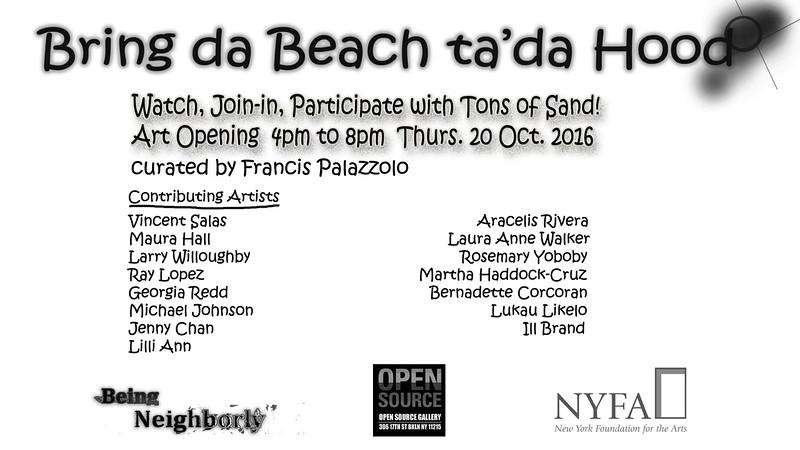 Bring da Beach ta'da Hood: Video Documentation of Art Opening. Color video, 2 min. 59 sec. 2016.