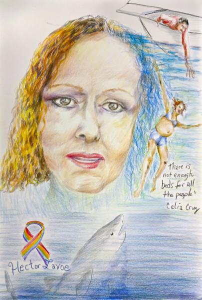"Interdependent portrait event with Carmen, 20"" x 24"", pencil on paper, 03/25/2019."